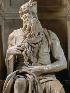 Tomb of Giulio II: Moses, by Buonarroti Michelangelo, 1513, 16th Century, Marble by Michelangelo Buonarroti