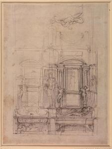 W.26R Design for the Medici Chapel in the Church of San Lorenzo, Florence (Charcoal) by Michelangelo Buonarroti