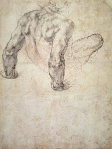 W.63R Study of a Male Nude, Leaning Back on His Hands by Michelangelo Buonarroti