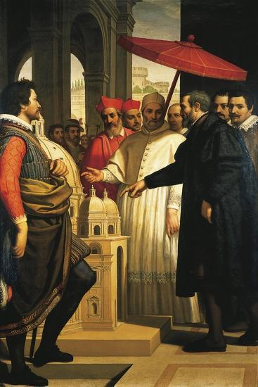 Michelangelo Presenting the Model for the Completion of St Peter's to Pope Pius IV, 1618-1619-Domenico Cresti-Giclee Print