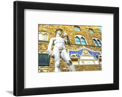 Michelangelo's David replica statue, Piazza della Signoria, Palazzo Vecchio, Florence, Tuscany-William Perry-Framed Photographic Print