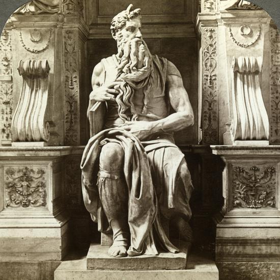 Michelangelo's Statue of Moses, Church of San Pietro in Vincoli, Rome, Italy-Underwood & Underwood-Photographic Print