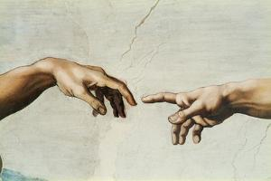 The Sistine Chapel; ceiling frescos after restoration. The creation of Adam. by Michelangelo
