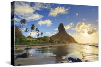Brazil, Fernando De Noronha, Conceicao Beach with Morro Pico Mountain in the Background