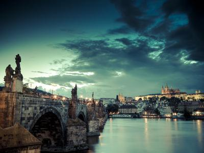 Czech Republic, Prague, Stare Mesto (Old Town), Charles Bridge, Hradcany Castle and St. Vitus Cathe