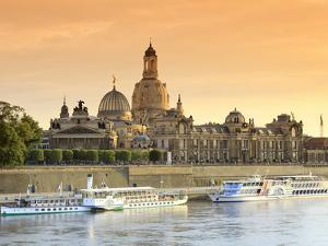 Germany, Saxony, Dresden, Elbe River and Old Town Skyline by Michele Falzone