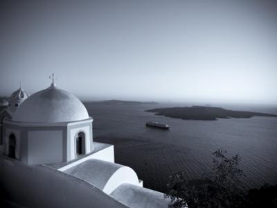 Greece, Cyclades, Santorini, Fira (Thira), Church and View of Santorini Caldera by Michele Falzone