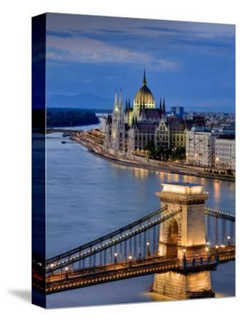 Hungary, Budapest, Parliament Buildings, Chain Bridge and River Danube