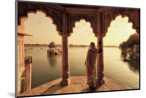 India, Rajasthan, Jaisalmer, Gadi Sagar Lake, Indian Woman Wearing Traditional Saree Outfit by Michele Falzone