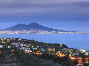 Italy, Naples, View of Naples, Posillipo Town and Mt. Vesuvius by Michele Falzone