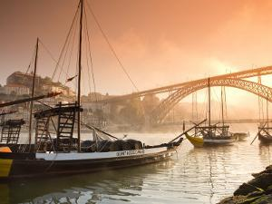 Porto Wine Carrying Barcos, River Douro and City Skyline, Porto, Portugal by Michele Falzone