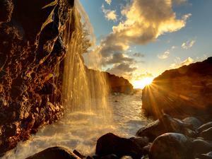 USA, Hawaii, Kauai, Queen's Bath and Waterfall by Michele Falzone