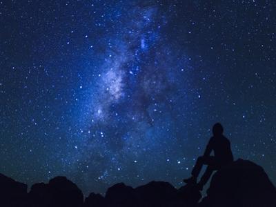 USA, Hawaii, the Big Island, Milky Way from Mauna Kea Observatory (4200m)