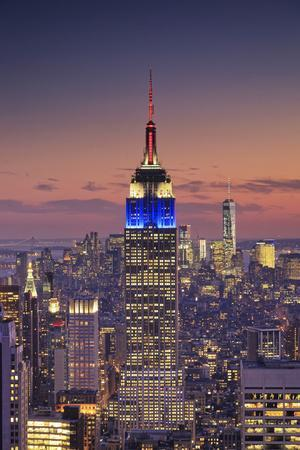 Usa, New York, Manhattan, Top of the Rock Observatory, Midtown Manhattan and Empire State Building