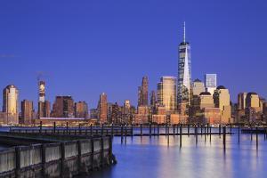 Usa, New York, New York City, Lower Manhattan Skyline from Newport Beach by Michele Falzone