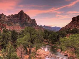 USA, Utah, Zion National Park, Watchman Mountain and Virgin River by Michele Falzone