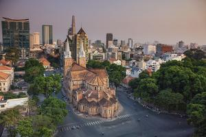 Vietnam, Ho Chi Minh City (Saigon), Notre Dame Cathedral and City Skyline by Michele Falzone