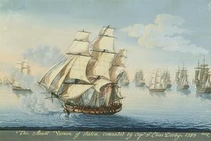 Ship Mount Vernon of Salem Outrunning a French Fleet by Michele Felice Corne