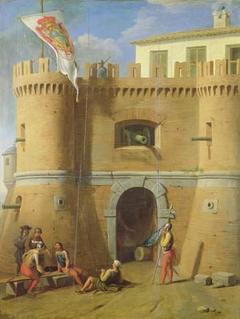 Soldiers Outside a Fortified Castle