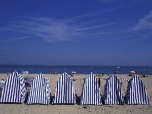 Blue and White Wind Breaker Tents, Aquitania, France by Michele Molinari