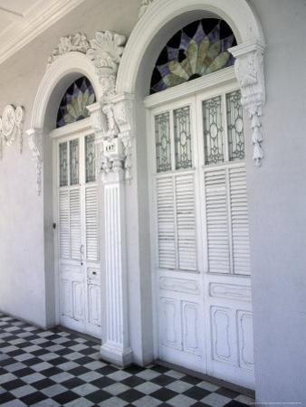 Historic District Doors with Stucco Decor and Tiled Floor, Puerto Rico