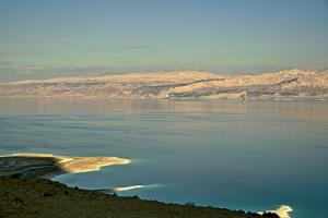 Israel, Dead Sea, along the read on the Israeli side, Jordan across the body of water by Michele Molinari