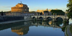 Italy, Rome, Castel Sant'Angelo Reflecting in the Tiber River by Michele Molinari