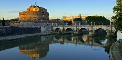 Italy, Rome, Castel Sant'Angelo Reflecting in the Tiber River