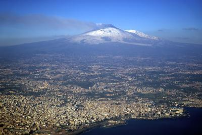 Italy, Sicily, Aerial View of Mount Etna. City of Catania in the Foreground