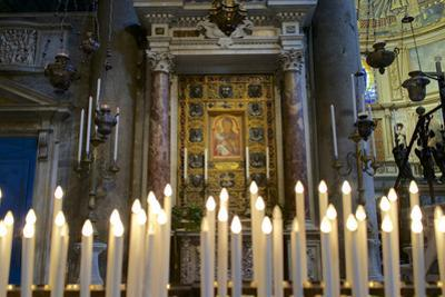 Italy, Tuscany, Pisa, Piazza Dei Miracoli. Inside the Duomo, Electric Candles and Painting