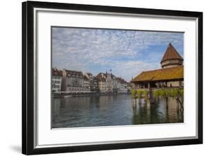 Kapellbrucke, wood covered bridge across the Reuss in Lucerne, Switzerland. by Michele Niles