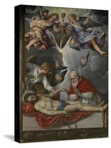 Dead Christ, Adored by Pope Pius V, Ca 1571-1572 by Micheli Parrasio