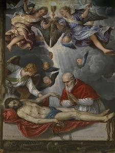 Dead Christ, Adored by Pope Pius V, Ca 1571-1572 by Micheli Parrasio