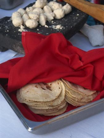 Close-Up of Tortillas in a Tray Covered by a Red Cloth, in Mexico, North America