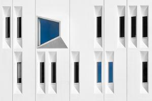 Composition in White, Black and Blue by Michiel Hageman
