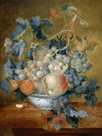 A Delft Bowl with Fruit, C.1730 by Michiel van Huysum