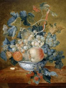 A Delft Bowl with Fruit, C.1730 by Michiel van Huysum