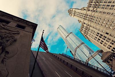 Michigan Avenue Bridge, Wrigley Building and Trump Tower-benkrut-Photographic Print