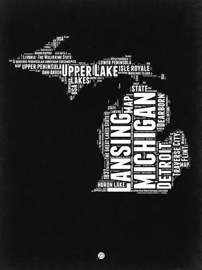 Michigan Black and White Map-NaxArt-Art Print