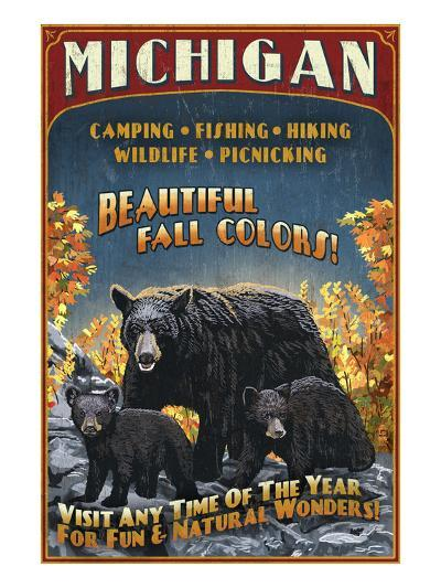 Michigan - Black Bears and Fall Colors-Lantern Press-Art Print