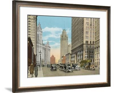 Michigan Boulevard, Looking North--Framed Photographic Print