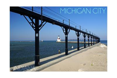 Michigan City, Indiana - Lighthouse 1-Lantern Press-Art Print