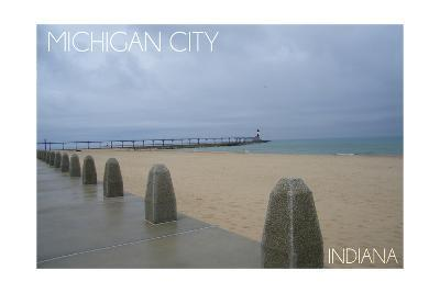 Michigan City, Indiana - Lighthouse 2-Lantern Press-Art Print