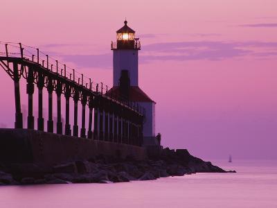 Michigan City Lighthouse at Sunset-Richard Cummins-Photographic Print