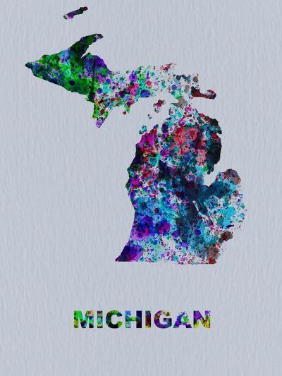 Michigan Color Splatter Map-NaxArt-Art Print