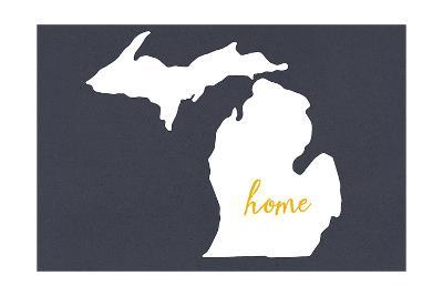 Michigan - Home State - Gray-Lantern Press-Art Print