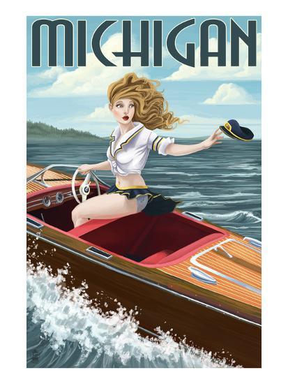 Michigan - Pinup Girl Boating-Lantern Press-Art Print