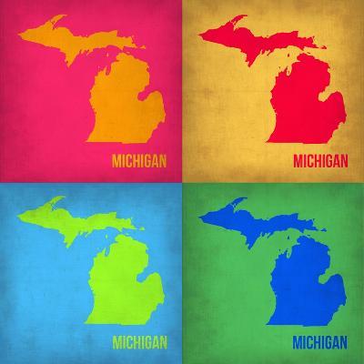 Michigan Pop Art Map 1-NaxArt-Art Print
