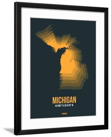 Michigan Radiant Map 4-NaxArt-Framed Art Print