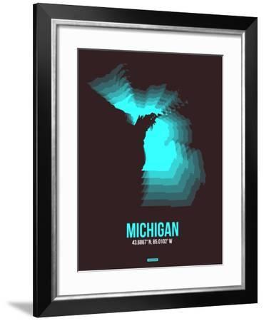 Michigan Radiant Map 6-NaxArt-Framed Art Print